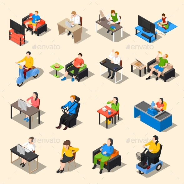 Sedentary Life Icon Set - People Characters