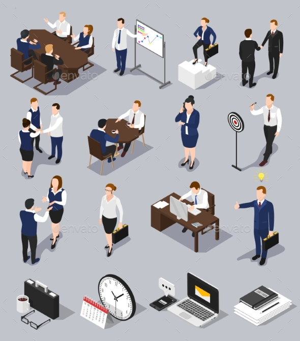 Isometric Business Meettings Set - Business Conceptual