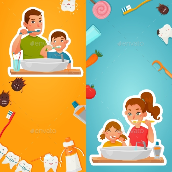Family Hygiene Of Teeth Vertical Banners - Health/Medicine Conceptual