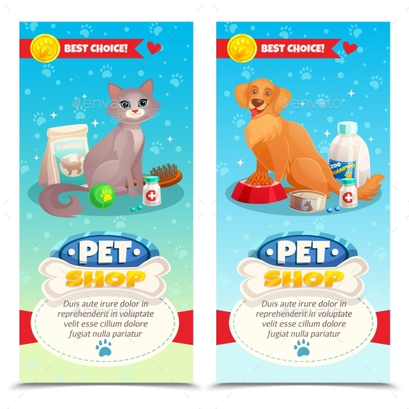Pet Shop Vertical Banners - Animals Characters