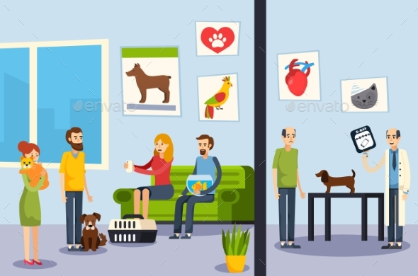 Vet Clinic Flat Orthogonal Poster - Animals Characters