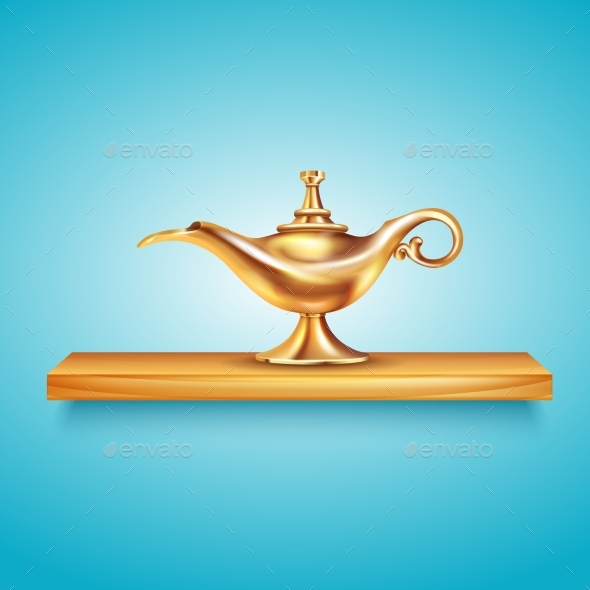 Aladdin Lamp On Pedestal Composition - Miscellaneous Vectors