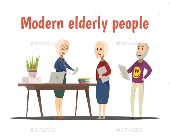 Modern Elderly People Composition - Technology Conceptual