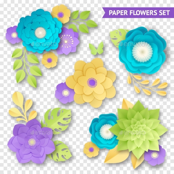 Paper Flowers Compositions Transparent Set - Objects Vectors