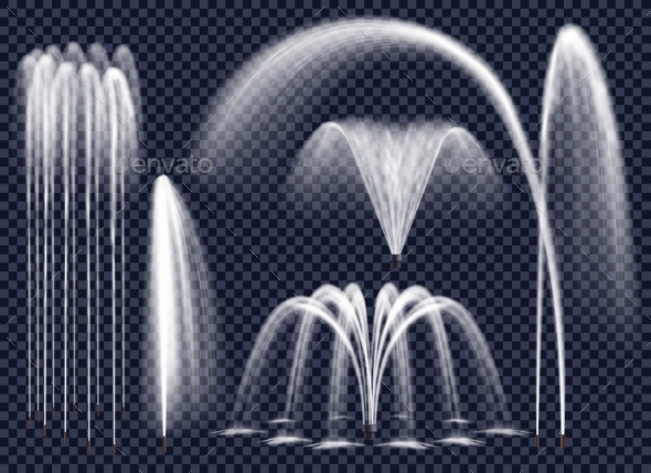 Realistic Fountains On Transparent Background Set - Abstract Conceptual