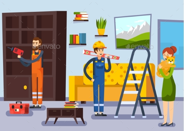 Home Renovation Workmen Flat Poster - Buildings Objects