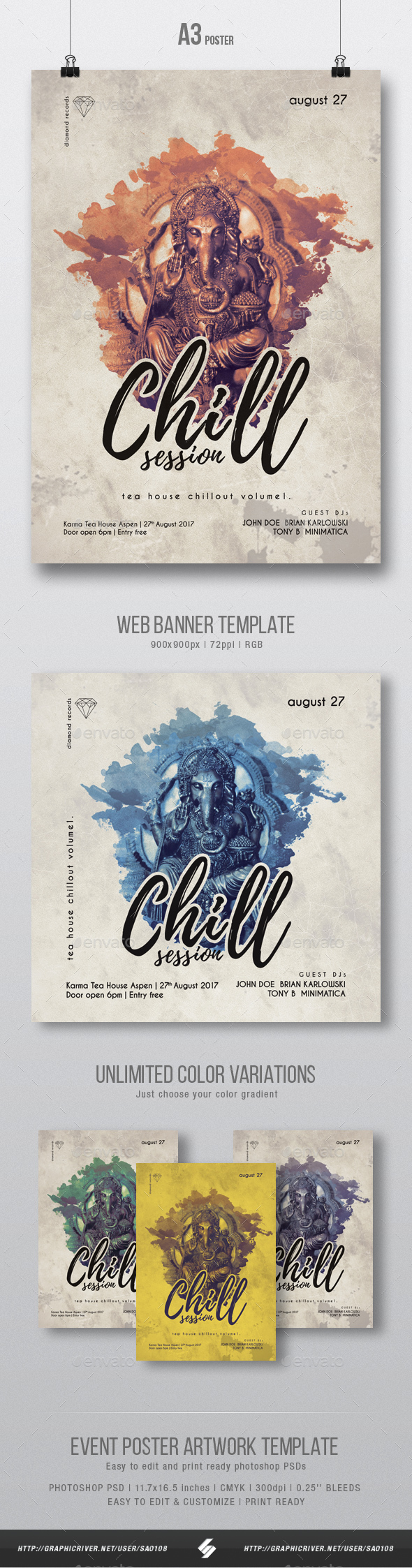 Dub Chill Session Flyer / Poster Artwork Template A3 - Clubs & Parties Events