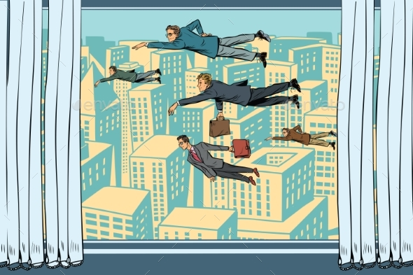 Businessmen Fly Past the Window - People Characters