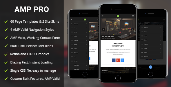 AMP Pro Mobile | Mobile Google AMP Template - Mobile Site Templates