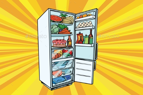 Home Refrigerator Filled with Food - Food Objects