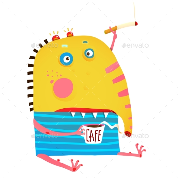Monster Sitting with Coffee and Cigarette Smoking - Monsters Characters
