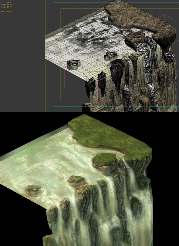 Game Model - Forest - Waterfall Cliff - 3DOcean Item for Sale