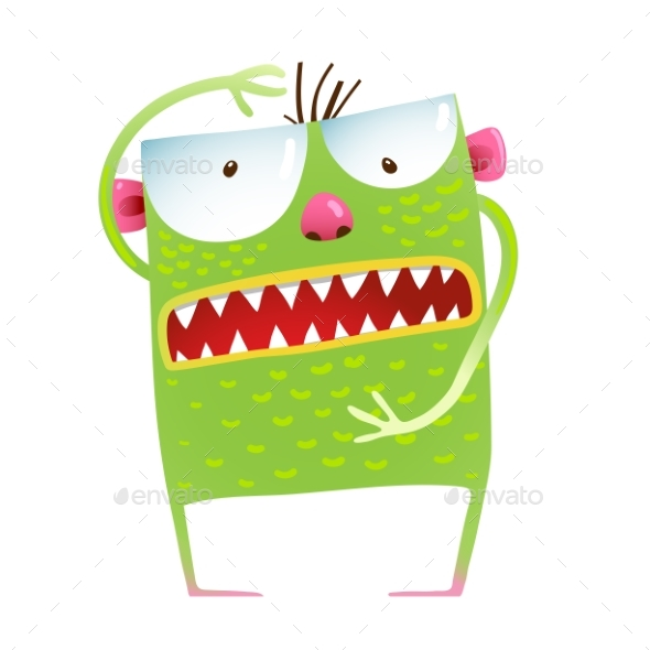 Green Monster Frog Kids Cartoon - Monsters Characters
