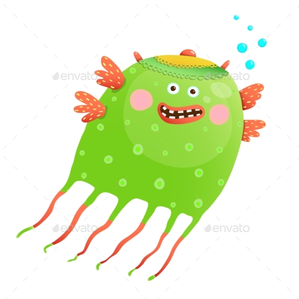Green Jellyfish for Kids - Monsters Characters