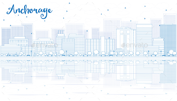 Outline Anchorage Skyline with Blue Buildings - Buildings Objects