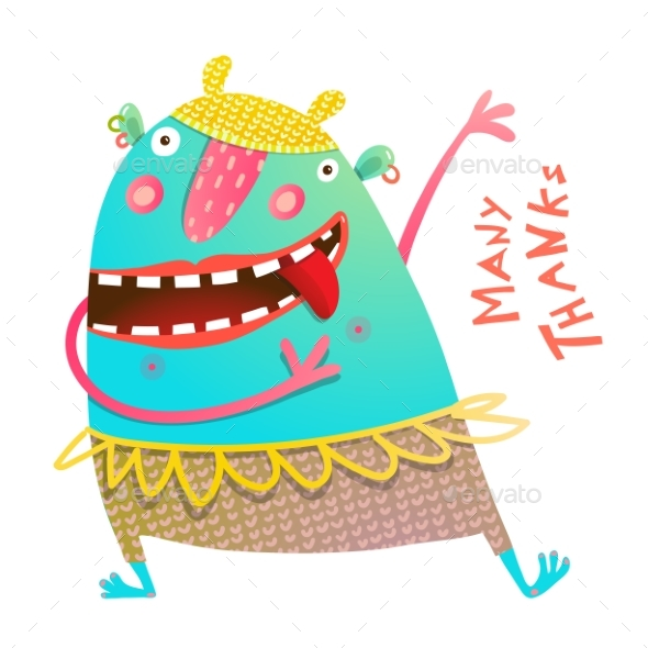 Dancing Showing Cheerful Monster for Children - Monsters Characters