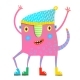 LIttle Kids Monster in Clothes Showing - GraphicRiver Item for Sale