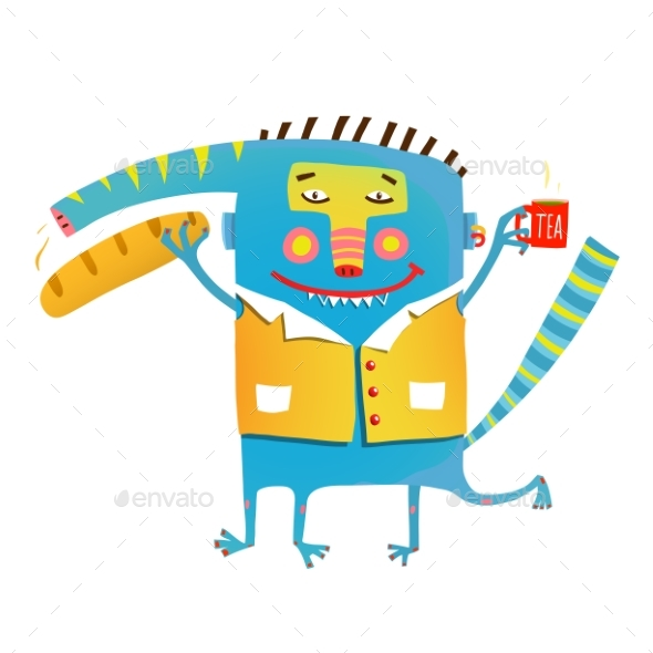 Whimsical Monster with Baguette Bread - Monsters Characters