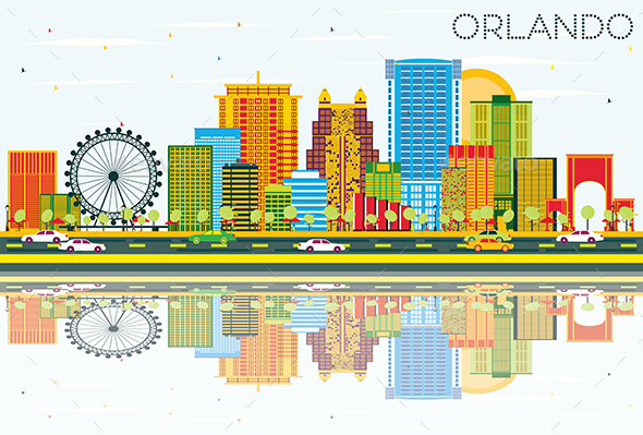 Orlando Skyline with Color Buildings, Blue Sky and Reflections - Buildings Objects