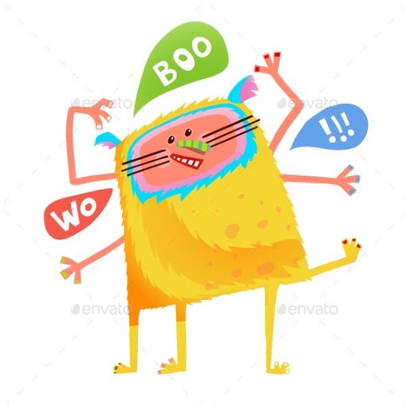 Yellow Talking Monster Children Cartoon - Monsters Characters