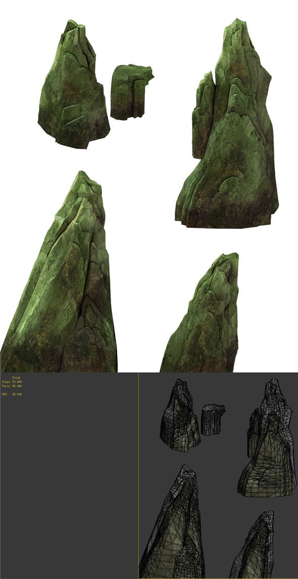 Game Model - Forest - Stone - 3DOcean Item for Sale