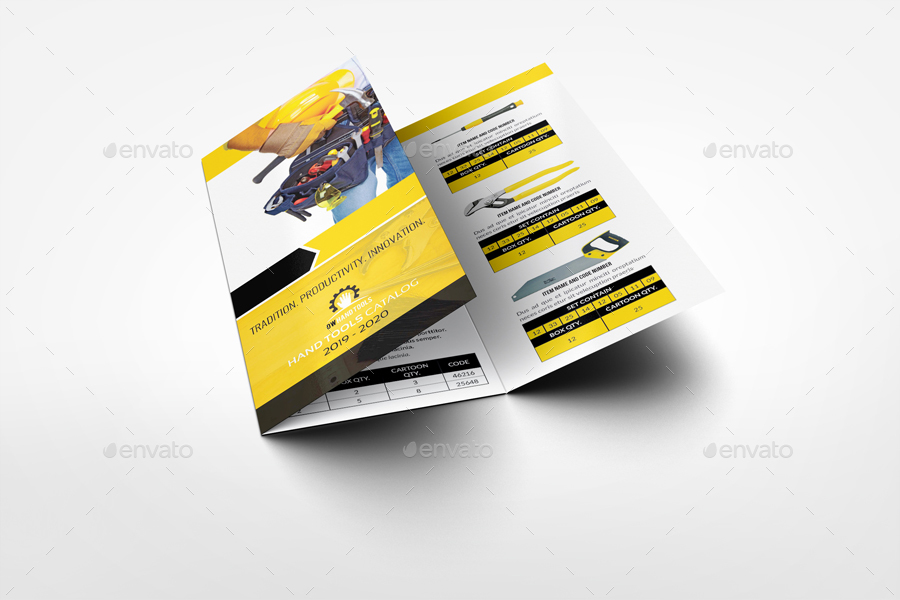 Hand Tools Products Catalog TriFold Brochure Template By Owpictures