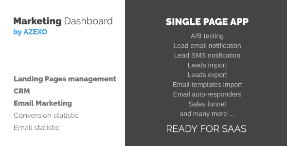 SAAS Marketing Dashboard - Landing Pages Management, CRM, Email Marketing - CodeCanyon Item for Sale