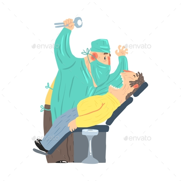Cartoon Scary Dentist Character with Male Patient - People Characters