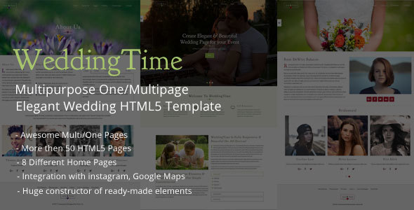 WeddingTime - Multipurpose One/Multipage Wedding HTML5 Template