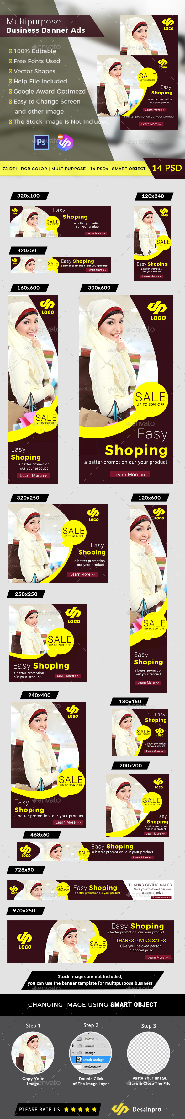 Fashion Shopping Ads Banner Template 14 Sizes - Banners & Ads Web Elements
