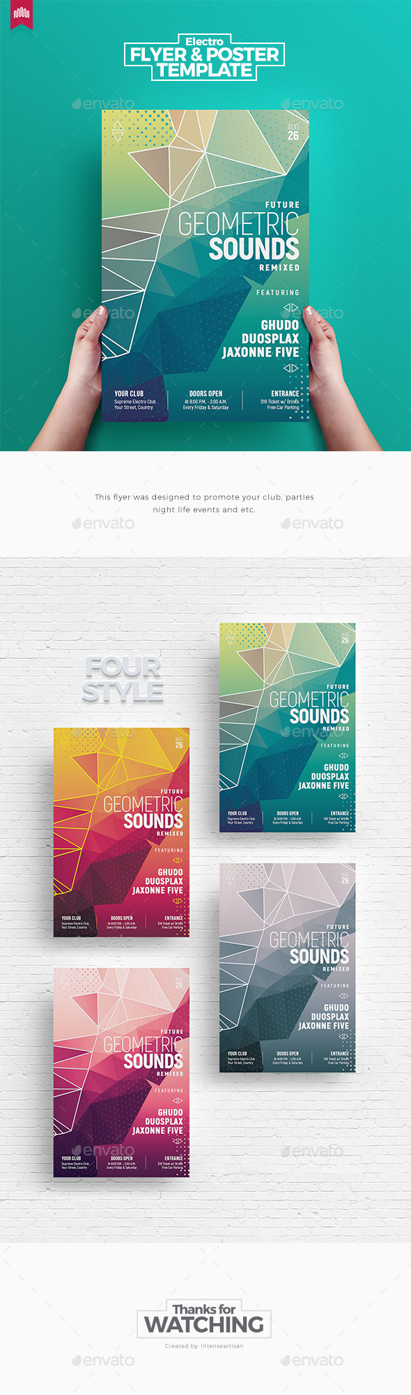 Geometric Sounds - Flyer Template - Clubs & Parties Events