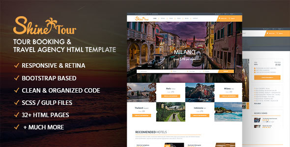 ShineTour – Tour Booking & Travel Agency HTML Template