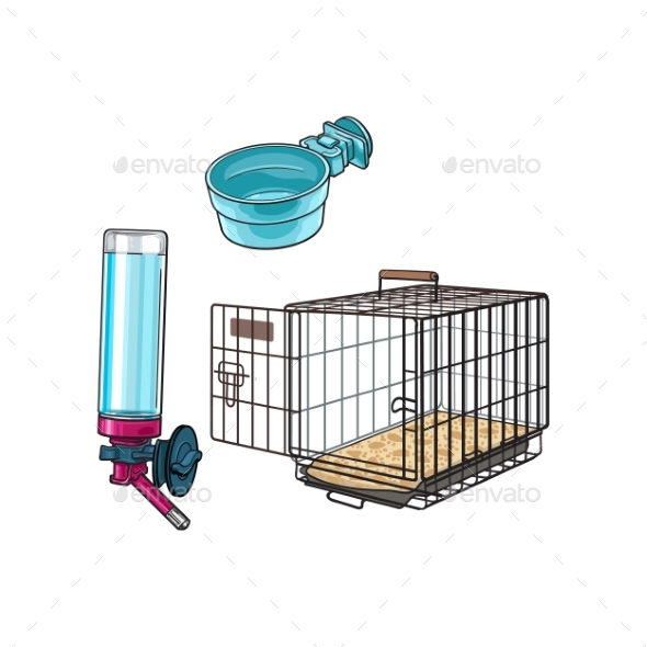 Metal Wire Pet Travel Carrier Feeding Bowl and Water - Animals Characters