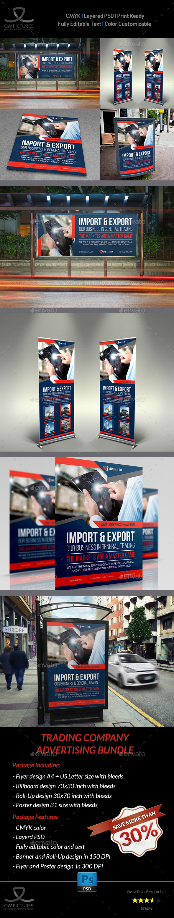 Trading Company Advertising Bundle - Signage Print Templates