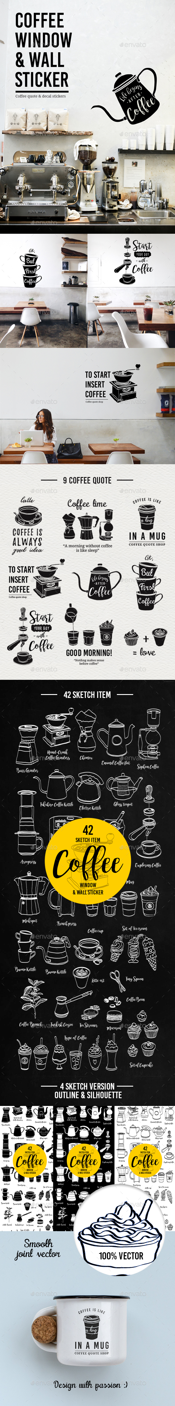 Coffee Window and Wall Stickers - Food Objects