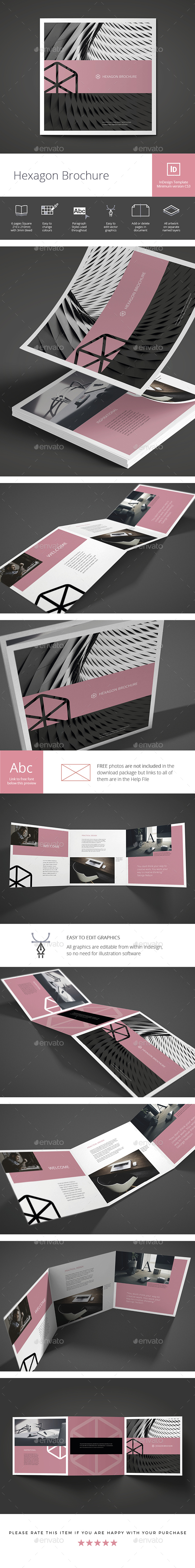 Square Hexagon Brochure - Brochures Print Templates