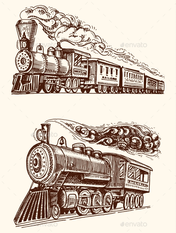 Engraved Vintage Hand Drawn Old Locomotive - Miscellaneous Vectors