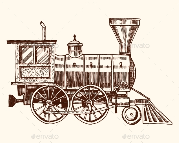 Engraved Vintage Hand Draw, Old Locomotive - Miscellaneous Vectors