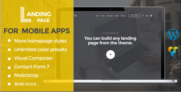 Mobile App Landing Page WordPress Theme - Marketing Corporate