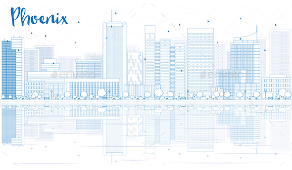 Outline Phoenix Skyline with Blue Buildings and Reflections - Buildings Objects