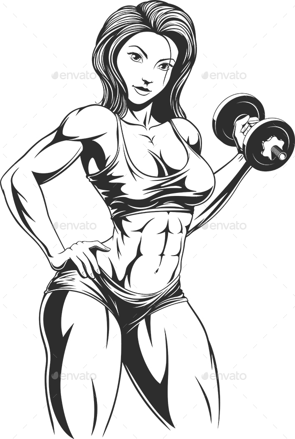Girl with Dumbbell - People Characters