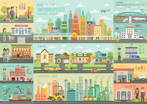 City Life Infographic Set - Buildings Objects
