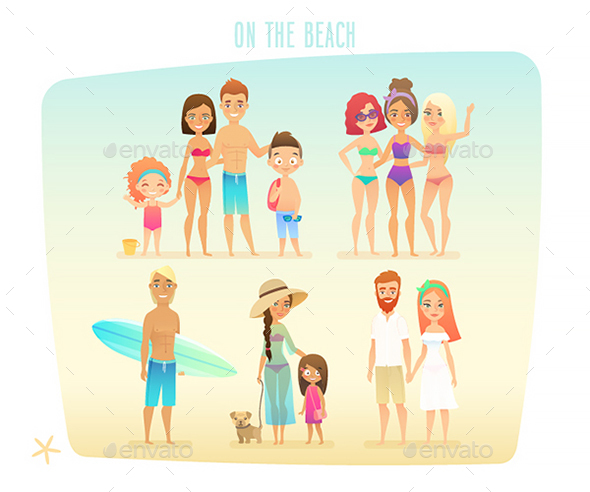 Family on the Beach - People Characters