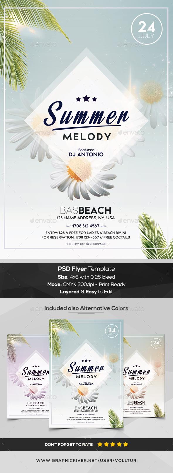 Summer Melody - Minimal PSD Flyer Template - Flyers Print Templates