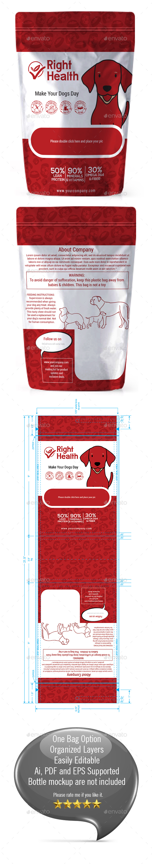 Dog Supplement Packaging Template-04 - Packaging Print Templates
