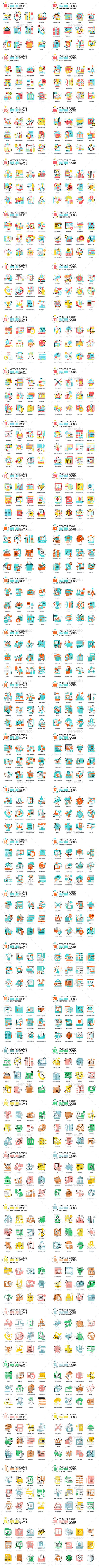 Set of Flat Design Icons - Icons
