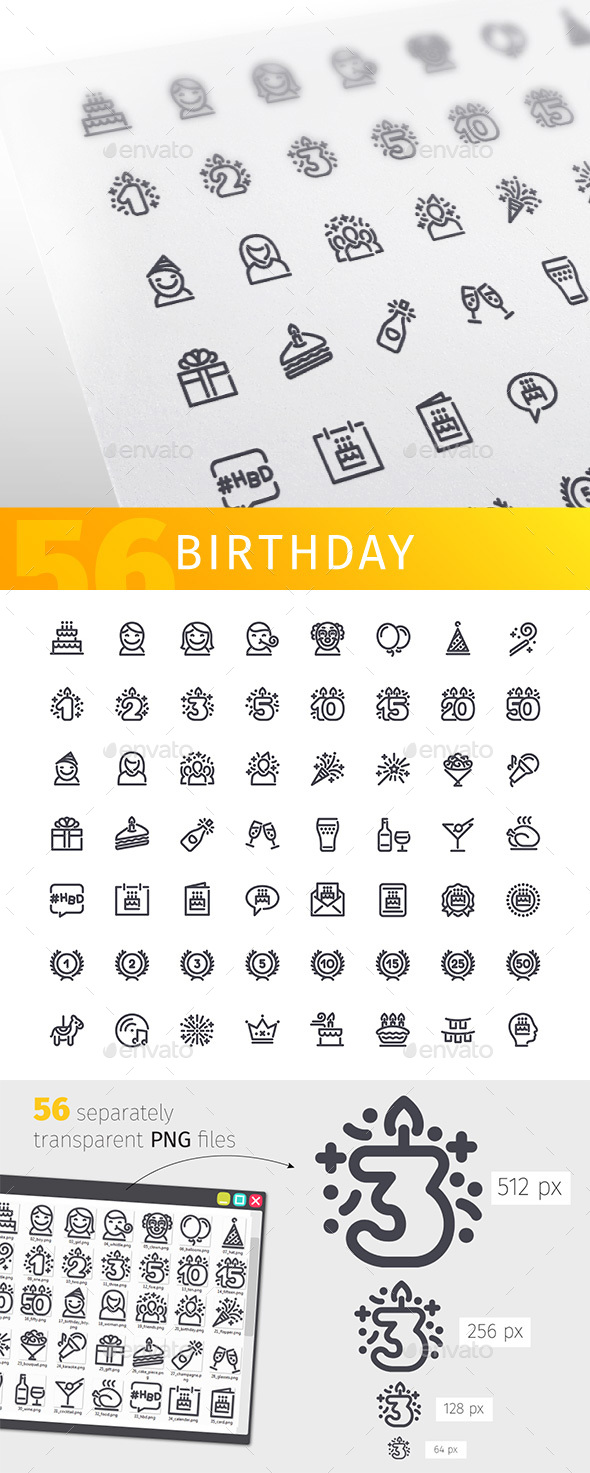 Birthday Line Icons Set - Man-made objects Objects