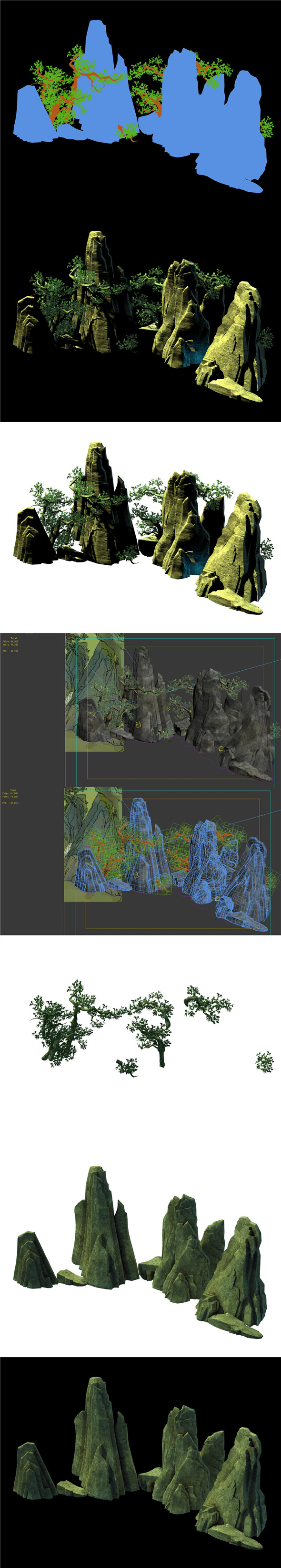 Game Model - Forest Model - Forest - Tree - Stone - 3DOcean Item for Sale