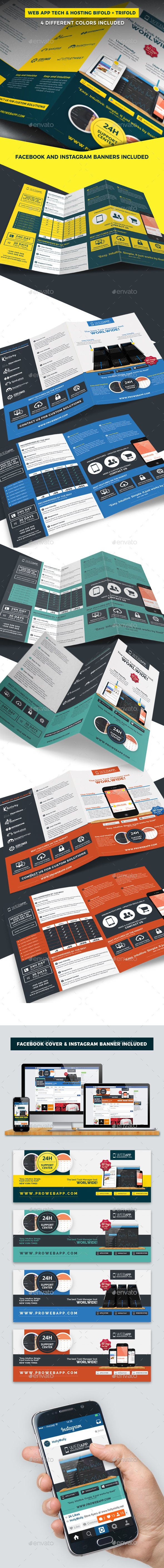 Web App Tech and Hosting Brochure Templates (Bifold + Trifold) - Brochures Print Templates