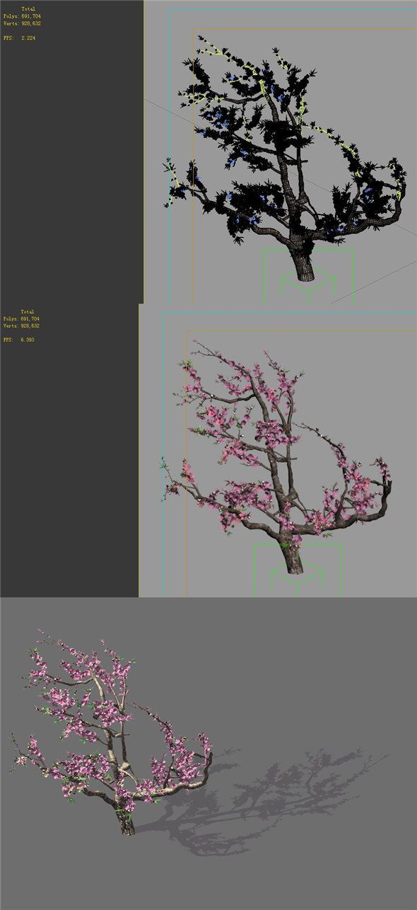 Game Model - Forest - Peach Tree 01 - 3DOcean Item for Sale